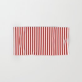 Red & White Maritime Vertical Small Stripes - Mix & Match with Simplicity of Life Hand & Bath Towel