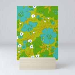 Green, Turquoise, and White Retro Flower Design Pattern Mini Art Print