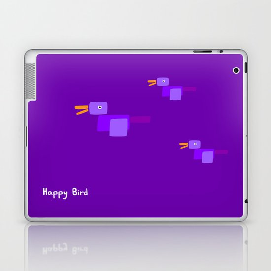 Happy Bird-Purple Laptop & iPad Skin