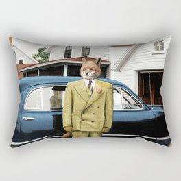 Mr. Fox posing with his new car Rectangular Pillow