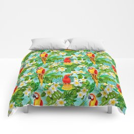 Tropical Parrot Chillin Comforters