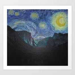 Vincent Van Gogh's Starry Night Over Yosemite National Park Art Print