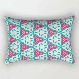 Origami Paper Cyan and Red Triangles Rectangular Pillow