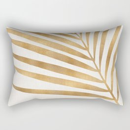 Metallic Gold Palm Leaf Rectangular Pillow