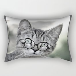 Old Lady Cat with Glasses Rectangular Pillow