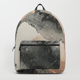 Peace and Quiet [2]: a pretty, minimal abstract piece in gray and peach by Alyssa Hamilton Art Backpack