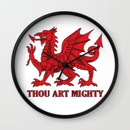 Thou Art Mighty Red Dragon Welsh Rugby Wall Clock