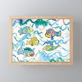 Funny fishes Framed Mini Art Print