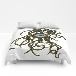 Evil Eye Halloween Creature Vector Gold Comforters