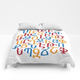 ARMENIAN ALPHABET MIXED - Red, Blue and Orange Comforters