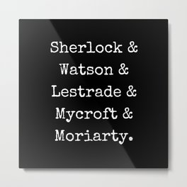 Guys of Sherlock Black Background Metal Print
