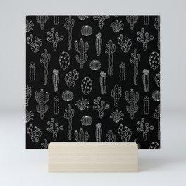 Cactus Silhouette White And Black Mini Art Print