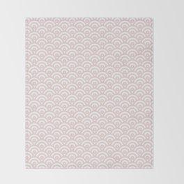 Elegant chic blush pink white scallop wave pattern Throw Blanket