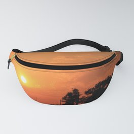 Kansas Orange Sunset with power Lines Fanny Pack