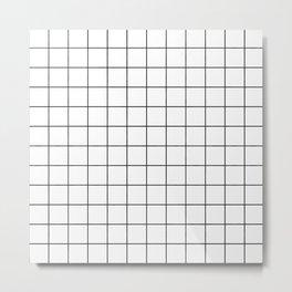 Grid Simple Line White Minimalist Metal Print