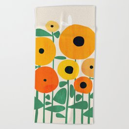 Sunflower and Bee Beach Towel