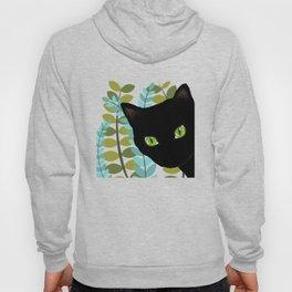 Black Kitty Cat In The Garden Hoody