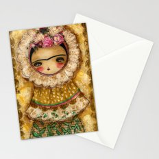Frida In A Brown And Green Tehuana Mexican Traditional Dress Stationery Cards