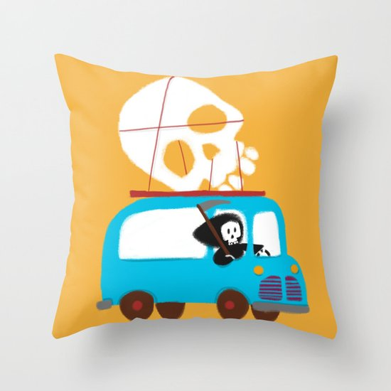 Death on wheels Throw Pillow