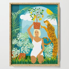 Bring The Jungle Home Illustration, Tropical Cheetah Wild Cat & Woman Painting Serving Tray