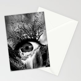 Cascade Crying Eye grayscale Stationery Cards