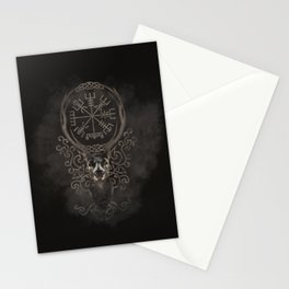 Deer and Vegvisir - Viking  Navigation Compass Stationery Cards