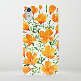 Watercolor California poppies iPhone Case