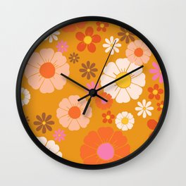 Groovy Mod 60's Flower Power Wall Clock