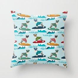 schnauzer surfing dog breed pattern Throw Pillow