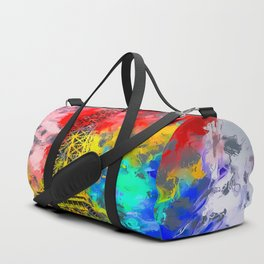 Eiffel Tower at Paris hotel and casino, Las Vegas, USA,with red blue yellow painting abstract backgr Duffle Bag