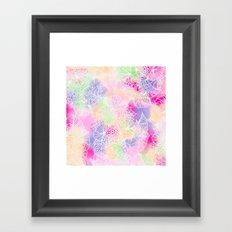 Modern white floral illustration on bright watercolor brushstrokes Framed Art Print