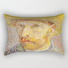 Vincent van Gogh - Self-Portrait with a Straw Hat - The Potato Peeler Rectangular Pillow