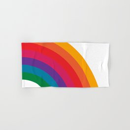 Retro Bright Rainbow - Right Side Hand & Bath Towel