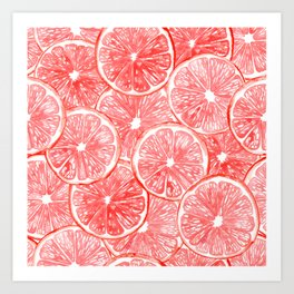 Watercolor grapefruit slices pattern Art Print