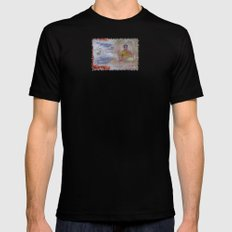 Buddha Collage - JUSTART (c) Mens Fitted Tee Black MEDIUM