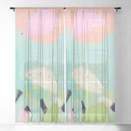 minimal floral abstract art Sheer Curtain