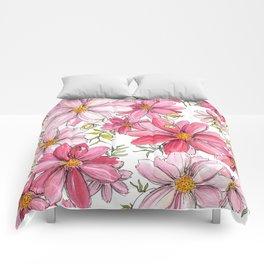 Pink Spring Flower Pattern Comforters