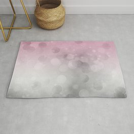 Pink  Grey Soft Gradient Bokeh Lights Rug