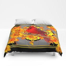 RED CARDINAL SUNFLOWERS ON GREY BLACK ART Comforters