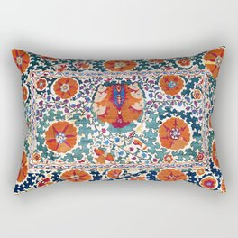 Shakhrisyabz Suzani Uzbekistan Antique Embroidery Print Rectangular Pillow