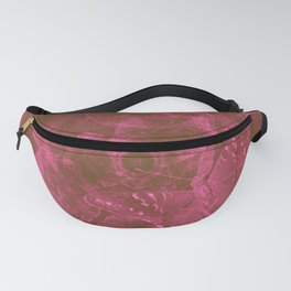 Butterfly and leaves in a red storm Fanny Pack