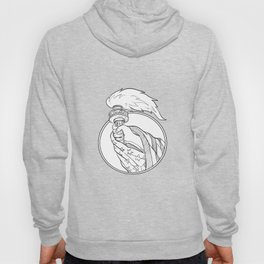 Hand Holding Statue of Liberty Torch Drawing Black and White Hoody