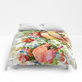Cardinal Birds and Hawthorn, Cardinal Bird Christmas Design art floral bird decor Comforters