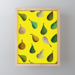 Pears pattern in yellow background Framed Mini Art Print