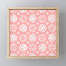 White Floral Mandala Pattern on Coral - Mix & Match with Simplicity of Life Framed Mini Art Print