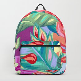 Colorful Tropical Flowers Backpack