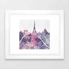 Paris Skyline + Map #1 Framed Art Print