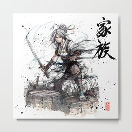 Samurai Girl with Japanese Calligraphy - Family - Ciri Parody Metal Print