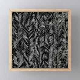 Herringbone Cream on Black Framed Mini Art Print