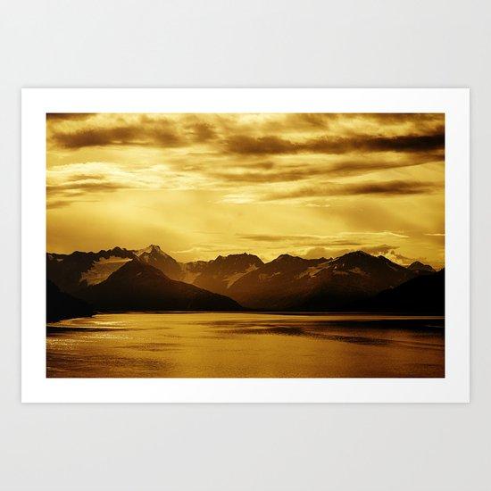 The Bay and Mountains Near Turnagain Arm, Alaska Art Print